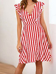 Χαμηλού Κόστους -Γυναικεία Βασικό Θήκη Φόρεμα - Ριγέ Πάνω από το Γόνατο