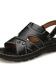 Недорогие -Муж. Кожаные ботинки Кожа Весна лето Английский Сандалии Дышащий Черный / Коричневый / на открытом воздухе