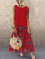 Недорогие -женское платье макси туника льняное красное желтое синее м л xl xxl