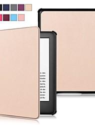 Недорогие -Кейс для Назначение Amazon Kindle Lite (2019) / Kindle PaperWhite 4 2018 / Kindle PaperWhite 2(2nd Generation, 2013 Release) Защита от удара / Флип / Ультратонкий Чехол Однотонный Твердый Кожа PU