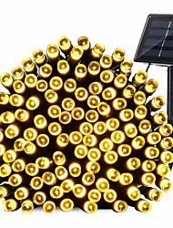 baratos -12m Cordões de Luzes 100 LEDs EL 1Setar o suporte de montagem Branco Quente Impermeável / Solar / Decorativa 4 V / Baterias alimentadas 1conjunto