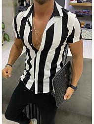 Недорогие -Муж. С принтом Рубашка Тонкие Классический / Уличный стиль Полоски Черный / С короткими рукавами