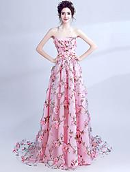 저렴한 -A-라인 끈없는 스타일 코트 트레인 오간자 드레스 와 으로 LAN TING Express