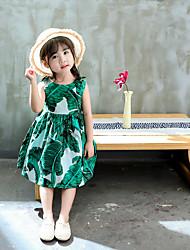 tanie -Dzieci Dla dziewczynek Podstawowy Nadruk Łuk Bez rękawów Bawełna Bluzka Zielony