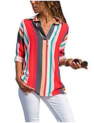 preiswerte -Damen Gestreift Hemd Druck Rote US8
