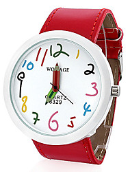 Недорогие -Для пары Нарядные часы Кварцевый Кожа Черный / Белый / Синий Повседневные часы Аналоговый Мода - Красный Синий Розовый Один год Срок службы батареи / Нержавеющая сталь