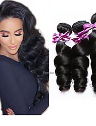 Недорогие -6 Связок Бразильские волосы Свободные волны человеческие волосы Remy Человека ткет Волосы Пучок волос One Pack Solution 8-28 дюймовый Естественный цвет Ткет человеческих волос