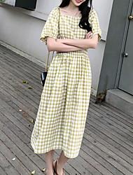 abordables -Mujer Chic de Calle Corte Swing Vestido - Frunce, A Cuadros Midi