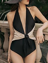 abordables -Mujer Negro Beige Una Pieza Bañadores - Geométrico M L XL Negro