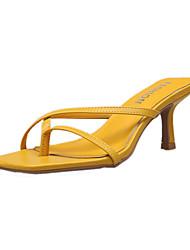 baratos -Mulheres Sandálias Salto Agulha Couro Ecológico Verão Preto / Amarelo