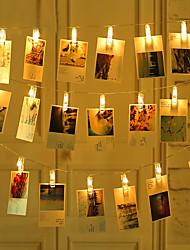 Недорогие -Loende 2 м 20 светодиодов фото клип держатель строки огни теплый белый / RGB / белый на Рождество Новый год свадьба украшение дома сказочные огни на батарейках