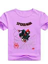 tanie -Dzieci Brzdąc Dla chłopców Podstawowy Nadruk Nadruk Krótki rękaw Bawełna Spandeks T-shirt Rumiany róż