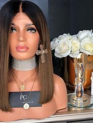 halpa -Aitohiusperuukit verkolla Kinky Straight Tyyli Keskiosa Suojuksettomat Peruukki Tummanruskea Tummanruskea / tumma Auburn Synteettiset hiukset 18 inch Naisten Naisten Tummanruskea Peruukki Pitkä