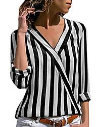 Χαμηλού Κόστους -Γυναικεία T-shirt Ριγέ Στάμπα Λευκό US8