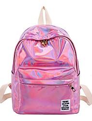 halpa -Naisten Vetoketjuilla Backpack Suuri tilavuus PVC Valkoinen / Musta / Punastuvan vaaleanpunainen