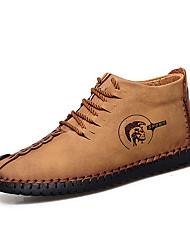 Недорогие -Муж. Кожаные ботинки Кожа Зима На каждый день Ботинки Для прогулок Сохраняет тепло Черный / Коричневый / Хаки