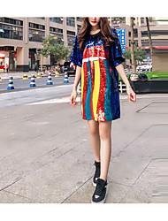 preiswerte -Damen Tunika Kleid - Patchwork, Einfarbig Knielang