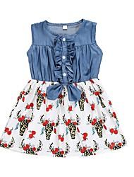 tanie -Brzdąc Dla dziewczynek Aktywny Róża Kwiaty Zwierzę Nadruk Bez rękawów Do kolan Bawełna Sukienka Biały
