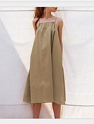 abordables -Mujer Básico Túnica Vestido - Plisado Retazos, Un Color Hasta la Rodilla