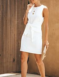 abordables -Mujer Sofisticado Elegante Recto Vestido - Lazo, Un Color Sobre la rodilla