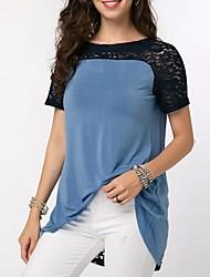 Χαμηλού Κόστους -Γυναικεία T-shirt Συνδυασμός Χρωμάτων Θαλασσί US8