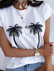 abordables -Mujer Camiseta Floral Blanco US8