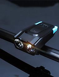Недорогие -Светодиодная лампа Велосипедные фары Передняя фара для велосипеда Велосипедный рог Горные велосипеды Велоспорт Водонепроницаемый Безопасность Супер яркий Литиевая батарея 800 lm Работает от USB