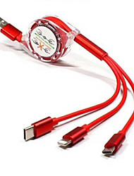Недорогие -регулируемый зарядный провод / втягивающийся 3-в-1 быстрая зарядка, подходит для разъемов micro и type-c и ios