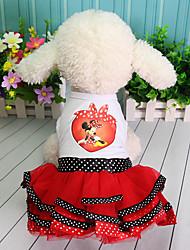 Недорогие -Платья Одежда для собак Персонажи Кружева Принцесса Лиловый Красный Хлопок Костюм Назначение Весна Лето Юбки и платья Симпатичные Стиль
