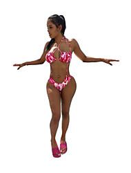 halpa -Naisten Perus Rubiini Niskalenkki Pikkutuhmat Yksiosainen Uima-asut - Kukka Avoin selkä Painettu M L XL Rubiini