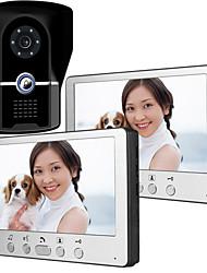 Недорогие -815fg12 ультратонкий 7-дюймовый проводной видео дверной звонок HD вилла один на два видео домофон наружный блок ночного видения функция разблокировки дождя