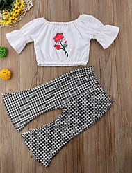 Недорогие -малыш Девочки Классический / Уличный стиль Гусиная лапка С короткими рукавами Обычный Набор одежды Белый