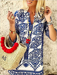 abordables -Mujer Camiseta Geométrico Azul Piscina US8