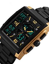 Недорогие -SKMEI Муж. электронные часы Цифровой Кожа Черный 30 m Защита от влаги Новый дизайн Ударопрочный Аналого-цифровые Мода - Красный Синий Золотистый Два года Срок службы батареи