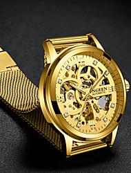 Недорогие -Муж. Роскошные часы Часы со скелетом Механические часы С автоподзаводом Формальный Стильные Нержавеющая сталь Черный / Золотистый 30 m С гравировкой Крупный циферблат Аналоговый Роскошь Мода -