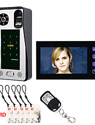 Недорогие -7-дюймовый отпечаток пальца ic-карта видео домофон домофон дверной звонок с дверной системой контроля доступа ночного видения видеонаблюдения камеры видеонаблюдения