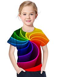 Недорогие -Дети Дети (1-4 лет) Девочки Активный Классический Геометрический принт С принтом Контрастных цветов С принтом С короткими рукавами Футболка Цвет радуги