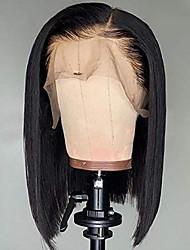 Недорогие -Натуральные волосы Лента спереди Парик Стрижка боб Короткий Боб Свободная часть стиль Бразильские волосы Шелковисто-прямые Черный Парик 130% Плотность волос / Природные волосы / 100% ручная работа