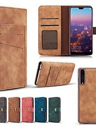 Недорогие -Кейс для Назначение Huawei Huawei nova 4e / Huawei P20 / Huawei P20 Pro Кошелек / Бумажник для карт / со стендом Чехол Однотонный Твердый Настоящая кожа
