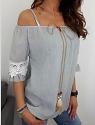 Недорогие -Жен. Кружева / Шнуровка / Пэчворк Большие размеры - Рубашка С открытыми плечами Классический Однотонный Розовый