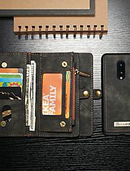 Недорогие -Кейс для Назначение OnePlus Один плюс 7 / One Plus 7 Pro Кошелек / Бумажник для карт / Защита от удара Чехол Однотонный Твердый Кожа PU