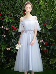 저렴한 -A-라인 바투 넥 종아리 길이 튤 신부 들러리 드레스 와 스팽글 / 아플리케 으로 LAN TING Express