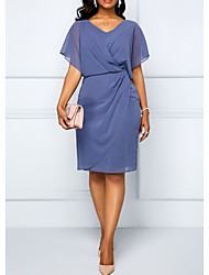 Недорогие -Жен. Элегантный стиль Оболочка Платье - Однотонный V-образный вырез До колена