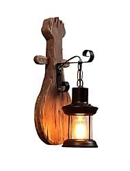 Недорогие -ретро деревенский настенный светильник форма пипа деревянная стена легкий металлический свет структура прозрачное стекло фонарь декорации тень 1-светодиодный настенный светильник