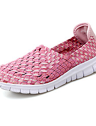 cheap -Women's Loafers & Slip-Ons Flat Heel Round Toe Elastic Fabric Casual Walking Shoes Summer Red / Blue / Pink