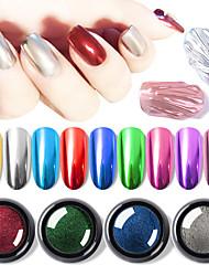 Недорогие -0.5 г / коробка зеркальная пудра для ногтей металлический эффект руб ногтей маникюр блестки уф-гель лак хром пигмент пыль поделки маникюр украшения