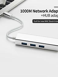Недорогие -USB c локальным сетевым адаптером RJ45 LAN 3 порта Тип USB c концентратором 10/100/1000 Мбит / с Gigabit Ethernet Сетевая карта USB 3.0 для MacBook