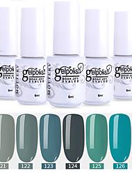 economico -smalto per unghie 6 pz colore 115-120 xyp soak-off uv / led smalto per unghie colore solido lacca per unghie set