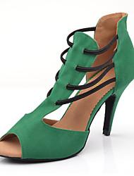 Недорогие -Жен. Танцевальная обувь Искусственная кожа Обувь для латины На каблуках Тонкий высокий каблук Персонализируемая Зеленый / Выступление / Кожа / Тренировочные