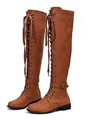 Недорогие -Жен. Ботинки На низком каблуке Полиуретан Сапоги выше колена Наступила зима Черный / зеленый / Темно-коричневый / Кофейный